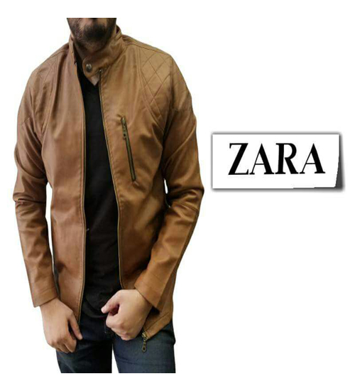 Bazaarmantri Zara Mens Brown Faux Leather Distressed Outerwear Slim